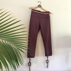 AERIE lace-up 7/8 cropped leggings in wine